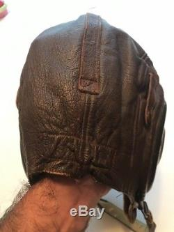 Vtg WWII US ARMY AIR FORCE Type A-II PILOTS Leather Helmet WW2 Sz LARGE No 3189