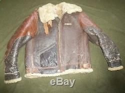 Vtg WWII WW2 AAF Army Air Force Corps B-3 Flight Flying Leather Jacket Coat