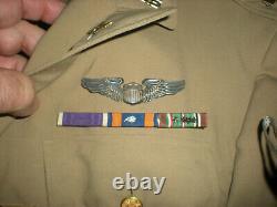 WW2 ARMY AIR CORPS ID'd LT. TUNIC PILOT 766th BOMB SQDN AIR MEDAL P. HEART CASES