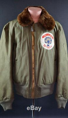 WW2 ARMY AIR FORCE B-15 FLIGHT JACKET with SQUADRON PATCH, NAMED