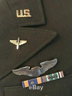 WW2 Army 8th Air Force Officers Dress Jacket USSAF Medals Patch Sterling Wings