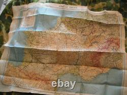 WW2 ORIGINAL ARMY AIR CORPS CLOTH MAP ZONES of FRANCE MARCH 1944 DATED & MINTY