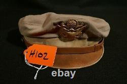 WW2 USAAF Army Air Force Officers Visor Hat Crusher Bancroft Flighter Khaki VG