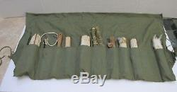 WW2 USAAF Army Air Force Survival Fishing Kit Large w HBT Roll Apron Some Conten