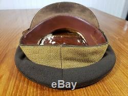 WW2 US Army Air Corp Officer Visor Crusher Hat Dobbs 5th Ave Nice Condition WWII
