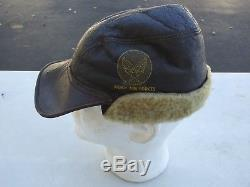 WW2 US Army Air Force B-2 Leather/Sheep Skin Mechanics Cap Size 7 MFG Werber SW