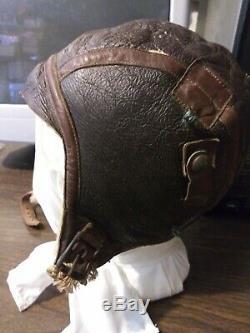 WW2 US Army Air Force B-6 Small Winter Leather Flight Helmet