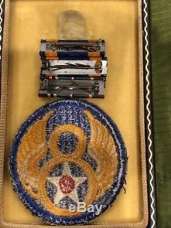 WW2 US Army Air Medal w Case & Eighth Air Force Patch, Wrap Brooch 3 Oak Leaves
