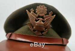 WW2 US Officer dress visor cap Army Air Corp force WW1 military bomber pilot hat