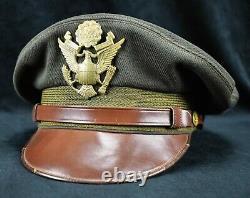 WW2 US Officer visor cap hat Army Air Corp force crusher pilot Bancroft Flighter