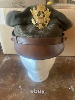 WW2 US Officer visor cap hat Army Air Force crusher pilot Bancroft Flighter Wool
