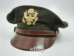 WW2 US soldier visor cap hat Army Air Corp force FLIGHT WEIGHTER Lewis crusher