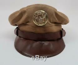 WW2 US soldier visor cap hat Army Air Corp force crusher FLIGHT WEIGHT usaf NAME