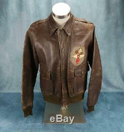 WW2 officer US Army Air Force Corp leather A2 bomber jacket USAF HELLS ANGELS
