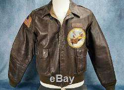 WW2 officer US Army Air Force Corp leather A2 bomber jacket USAF NAME 727th BS