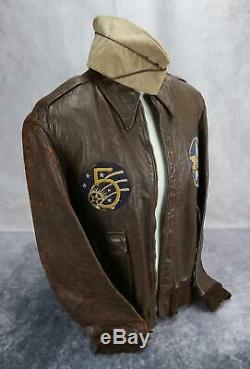 WW2 officer US Army Air Force Corp leather A2 bomber jacket USAF NAME group 42