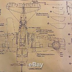 WWII 1944 U. S. Army Air Corps Republic P-47 Thunderbolt Blueprint WW2 Relic