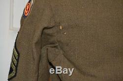 WWII 9th AAF Named Ike Jacket Army Air Force Gunners Blue Felt Air Medal Id'd