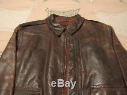 WWII A2 US Army Air Force Rough Wear Leather Flight Jacket Size 42