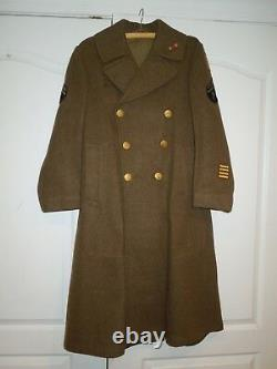 WWII Army Air Corp With CBI China Burma India Patch Theater Made Wool Over Coat