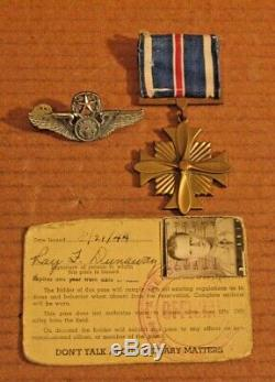 WWII Army Air Corps Sgt's Distinguished Flying Cross + Wings & Photo Class A Pas