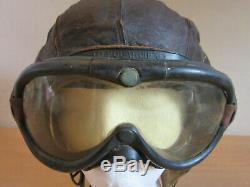 WWII Army Air Force A-11 Leather Flight helmet Size Medium with Polaroid Goggles