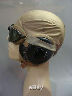 WWII Army Air Force Pilot AAF Flight AN-H-15 Bates Helmet & Goggles