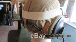 WWII Army Air Force Pilot AAF Flight AN-H-15 Bates Helmet with AN-6530 Goggles