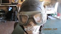 WWII Army Air Force Pilot AAF Flight A-11 Leather Helmet with Goggles