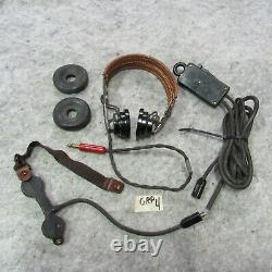 WWII HS-33 Head Set throat mike push to talk Army Air Corps Signal Corps (GRP4)