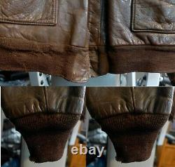 WWII Original US Army Air Corps Named A-2 Flight Leather Jacket #3