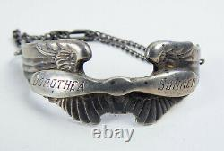 WWII Sterling Silver Army Air Corp Wings Sweetheart Bracelet Engraved