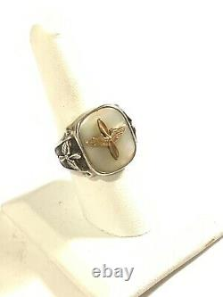 WWII Sterling Silver MOP Army Air Corps Ring Sz 9