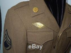 WWII USAAF Army Air Force Ike Jacket Bullion Wings Patch Wolf Brown Ribbon Bar