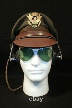 WWII USAAF Army Air Force Officers Service Visor Hat Crusher Wimbledon RARE