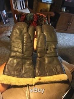 WWII USAF U. S ARMY AIR FORCE TYPE A-9-A B-17 Bomber Leather Gloves Mittens