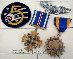 WWII US ARMY 5th USAAF DFC Air Medal Theatre Made Patch Named Grouping
