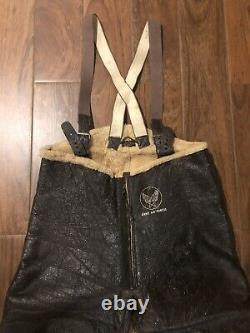 WWII US ARMY AIR FORCE FLIGHT PANTS SHEEPSKIN Leather Shearling Bomber Trousers