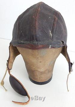 WWII US Army Air Corp Slote & Klein Pilots Bomber Leather Flight Helmet