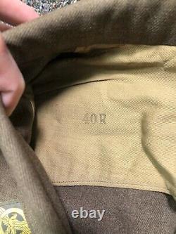 WWII US Army Air Corps Brown Wool Jacket Named Sterling Pilot Wings AP Mechanic