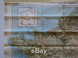 WWII US Army Air Corps Silk Escape Map Zones France Belgium Switzerland 1944 (A)