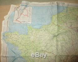 WWII US Army Air Corps Silk Escape Map Zones of France Second Edition 1944