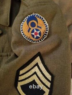 WWII US Army Air Force, 8th AAF OD Uniform, Ike Jacket, IDd, size 42S