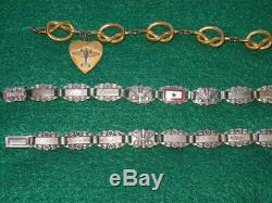 WWII US Army Air Force AAF Sterling Bracelet Lot Engraved Wings Prop Sweetheart