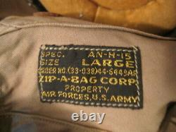 WWII US Army Air Force AAF Type AN-H-15 Flying Helmet Wired withGoggles LG 1944