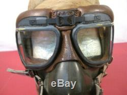 WWII US Army Air Force AAF Type AN-H-15 Flying Helmet Wired withGoggles & O2 Mask