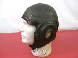 WWII US Army Air Force AAF Type A-11 Leather Pilot Flying Helmet Large 1944 2
