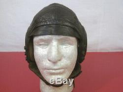 WWII US Army Air Force AAF Type A-11 Leather Pilot Flying Helmet Size Med NICE