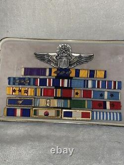 WWII US Army Air Force Sterling Silver Wings Group with Ribbon Bar & Patch