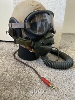 WWII US Army Air Force Summer Pilots Helmet with Oxygen Mask, Headset, Goggles